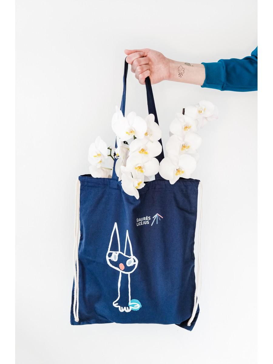 """Medvilninis krepšys su ilgomis rankenomis ir raišteliu - speciali """"Šiaurės licėjaus"""" projekto prekė"""