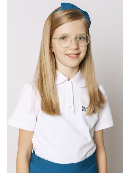 Balti polo marškinėliai mergaitei trumpomis rankovėmis