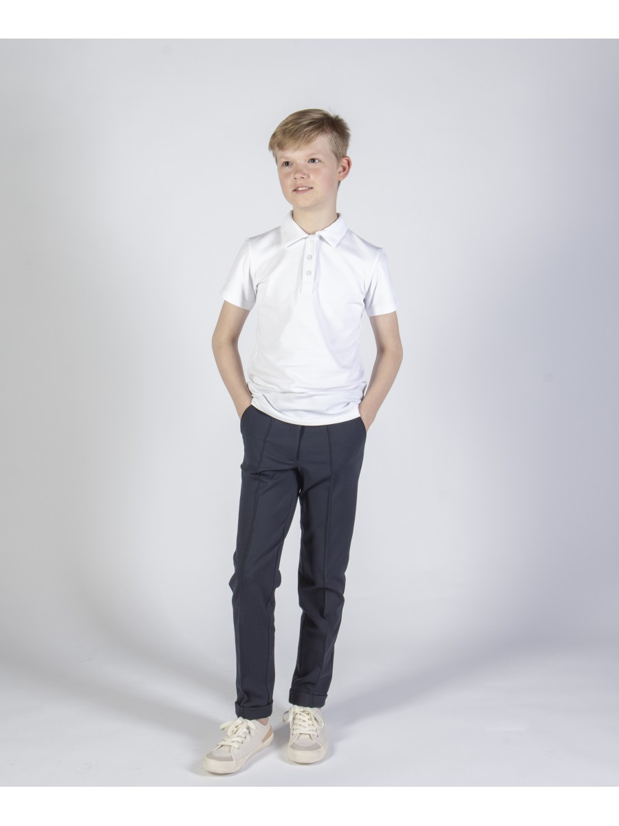 Balti polo marškinėliai trumpomis rankovėmis