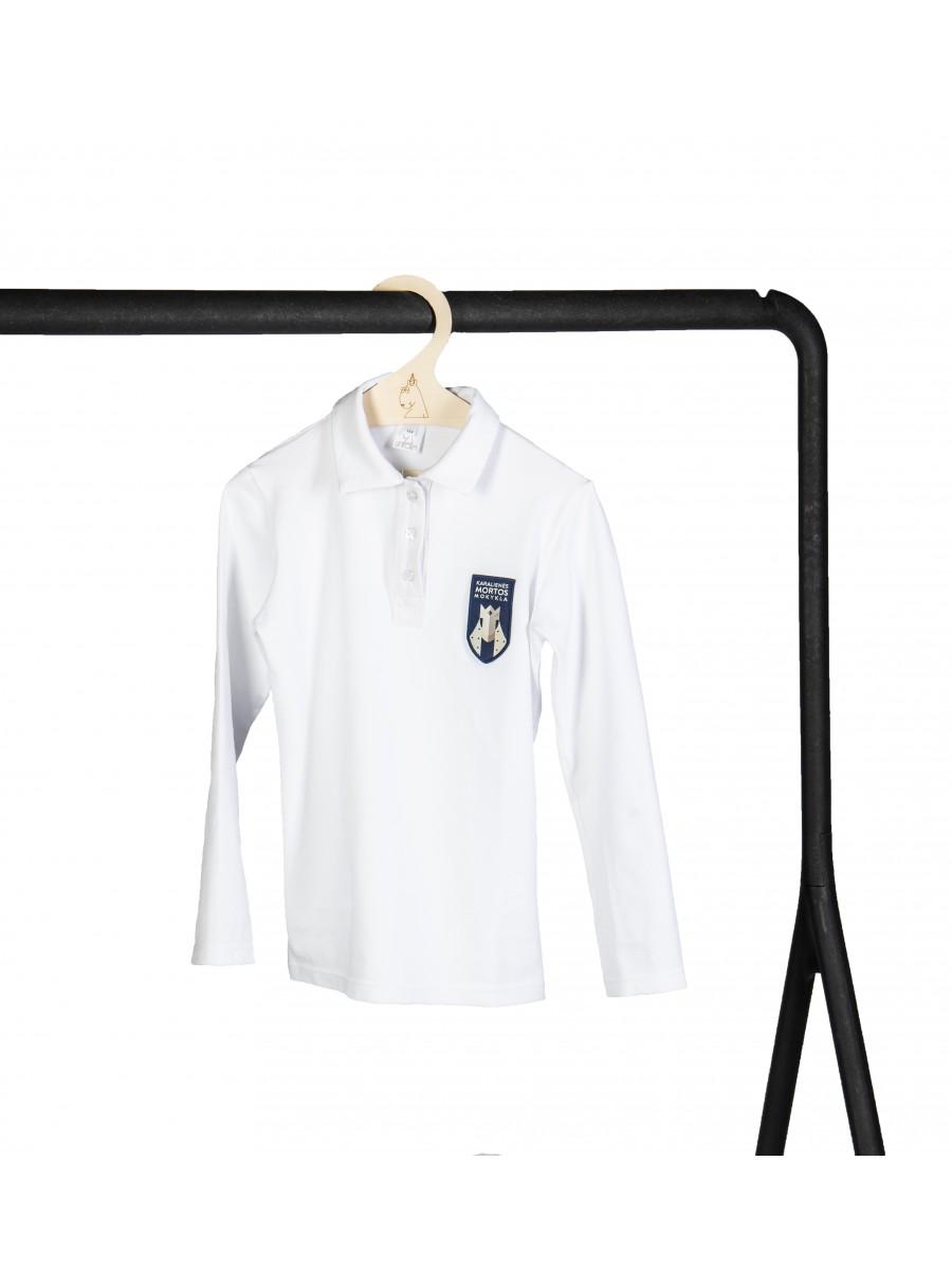 Balti polo marškinėliai ilgomis rankovėmis. Pasirenkama uniformos dalis.