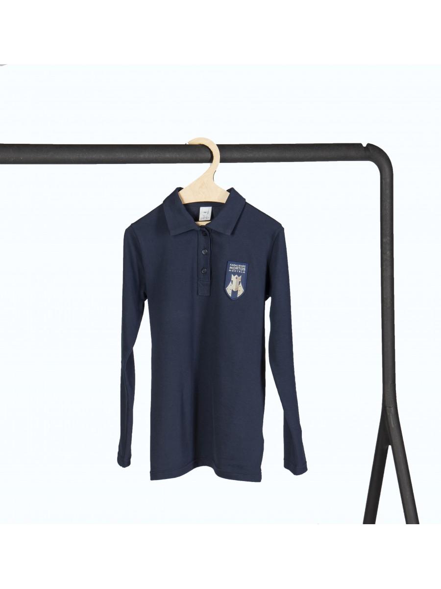 Mėlyni polo marškinėliai ilgomis rankovėmis. Pasirenkama uniformos dalis.