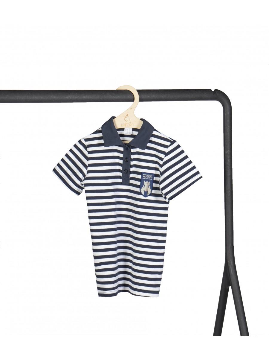 Dryžuoti polo marškinėliai trumpomis rankovėmis. Privaloma uniformos dalis.