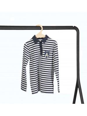 Dryžuoti polo marškinėliai ilgomis rankovėmis. Privaloma uniformos dalis.