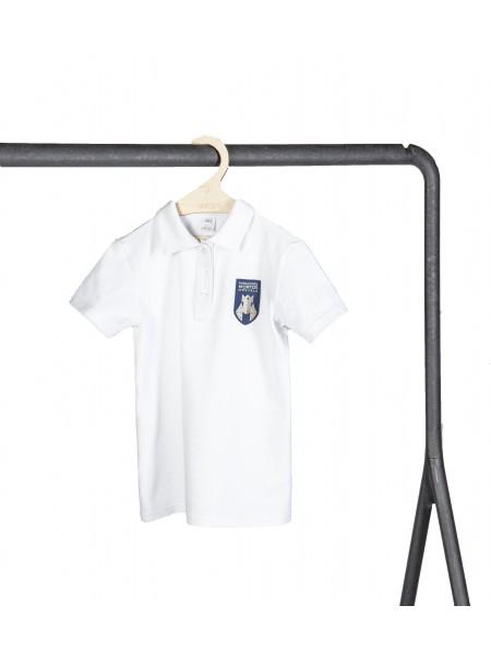 Balti polo marškinėliai trumpomis rankovėmis. Pasirenkama uniformos dalis.