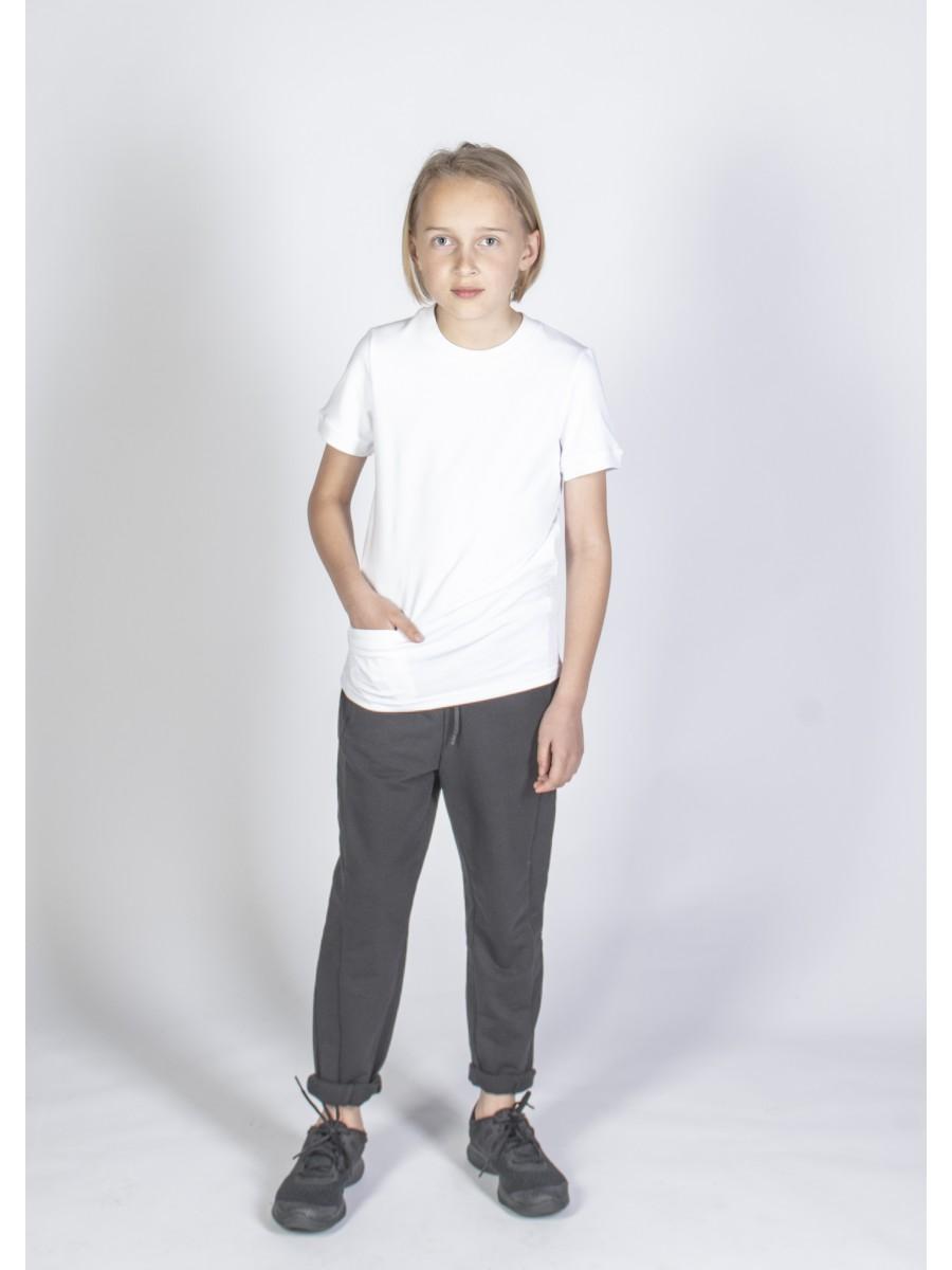 Balti marškinėliai trumpomis rankovėmis sportui
