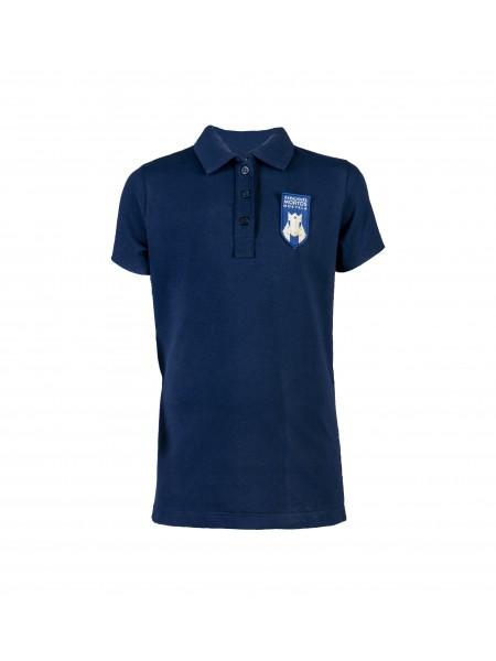 Mėlyni polo marškinėliai trumpomis rankovėmis. Pasirenkama uniformos dalis.